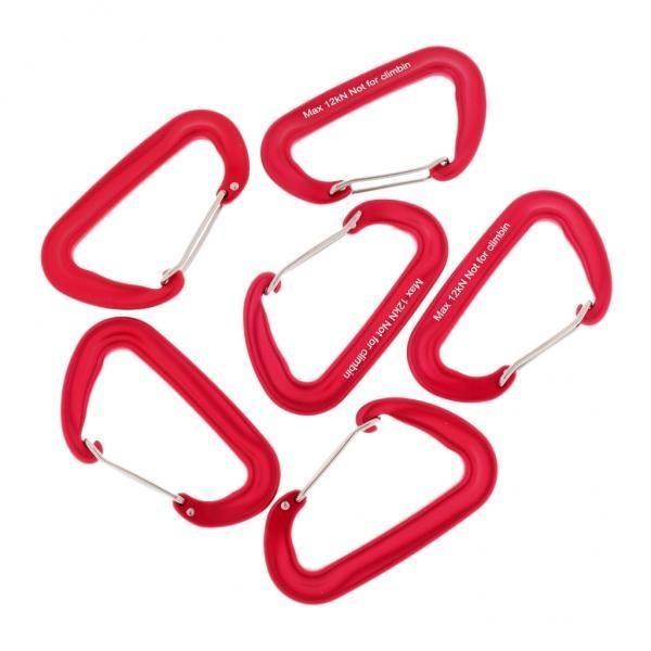 Top 10 Magideal 6 Pieces 12Kn Aluminium Wire Gate Carabiner Untuk Hammock Camping Hiking Merah Intl Online