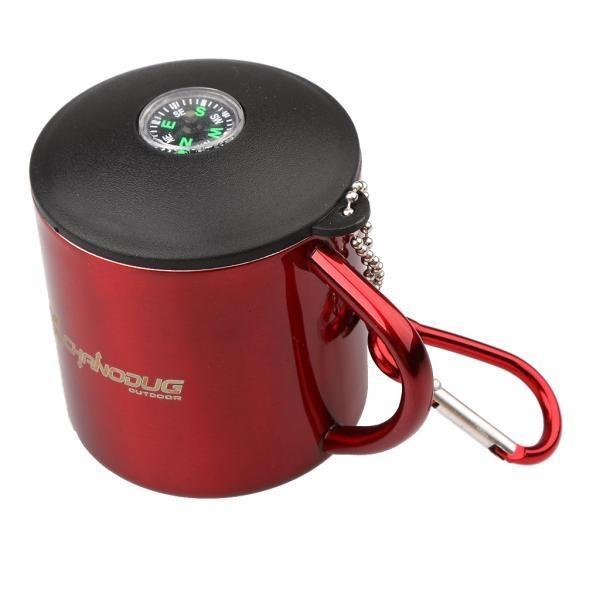 Toko Magideal Portable Stainless Mug Coffee Cup Dengan Carabiner Tutup Outdoor Camping Red Intl Dekat Sini