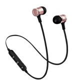 Spesifikasi Magnetic Bluetooth 4 2 Earphone Wireless Headset Running Headphones Super Bass With Mic Sport Earbuds For Smartphone Black Rose Gold Intl Lengkap