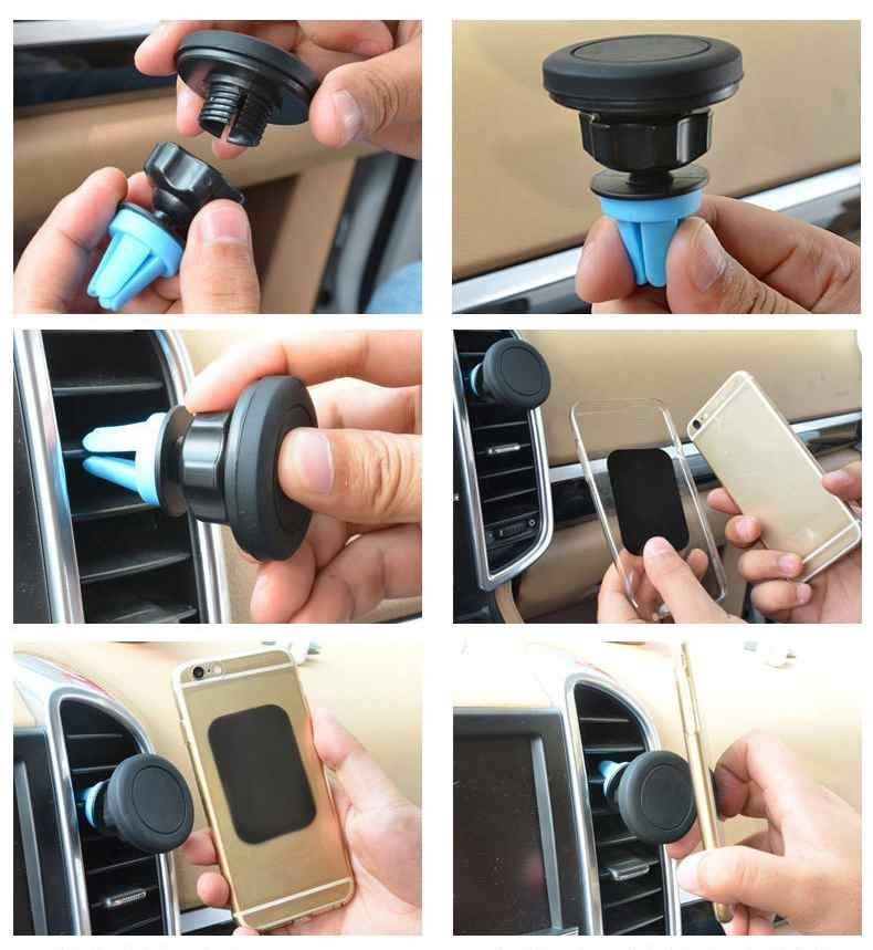 Magnetic Car Cell Phone Holder Ponsel Mount Air Vent Outlet 360 ° Rotate Intl Promo Beli 1 Gratis 1