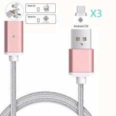 Magnetic Clip-on USB Pengisian Cepat dan Transmisi Data Berkecepatan Tinggi Sync Dikepang Kawat 3-In-1 Magnetik Lighting  Micro USB  Tipe-c Mini Logam Konektor untuk IOS atau Android (1 Magnetic Charging Kabel Data dan 3 Konektor Micro USB) -Intl