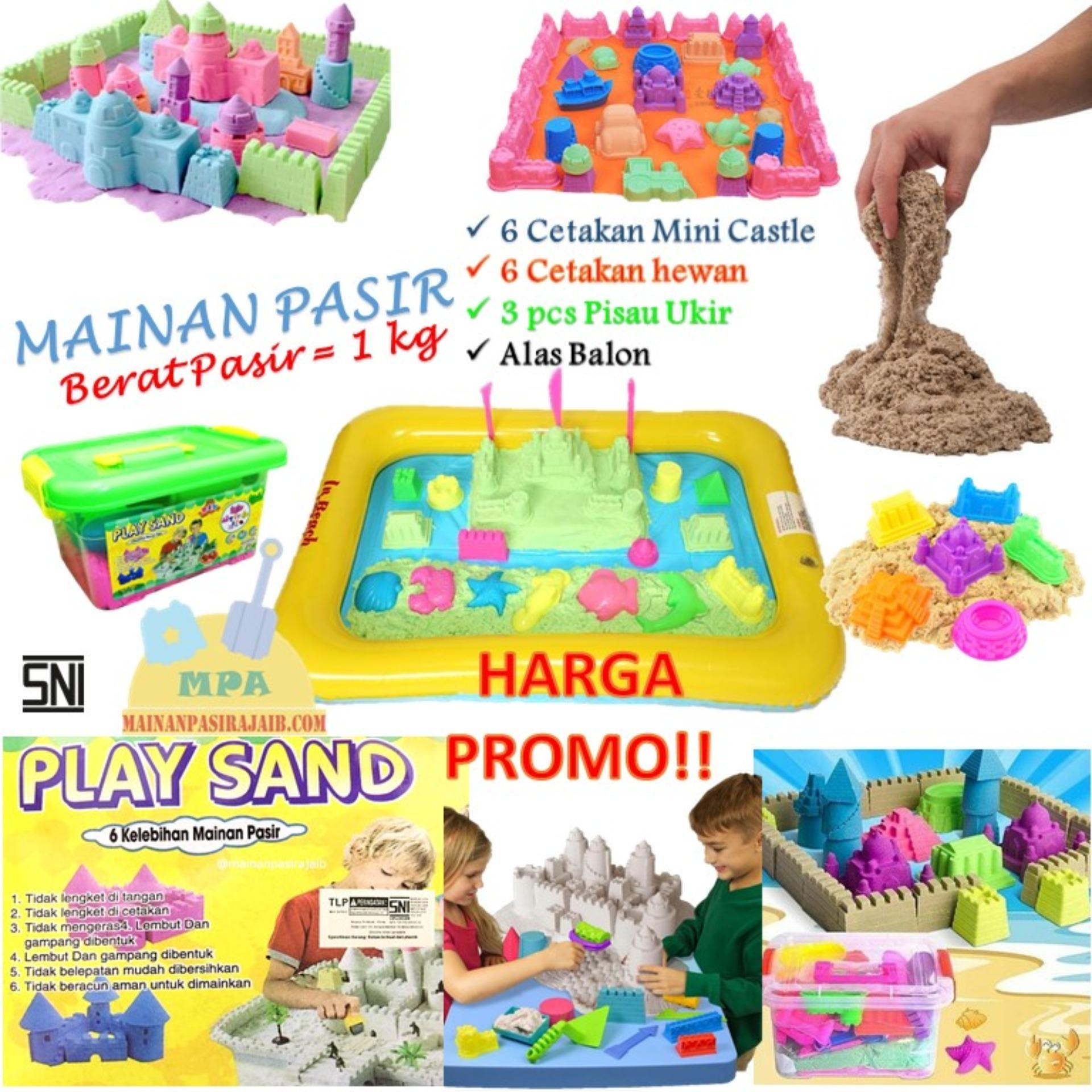Jual Mainan Edukatif Pasir Ajaib Kinetic Sand Model Sand Play Sand 1 Kg Original Hijau Dengan Alas Balon Play Sand Branded
