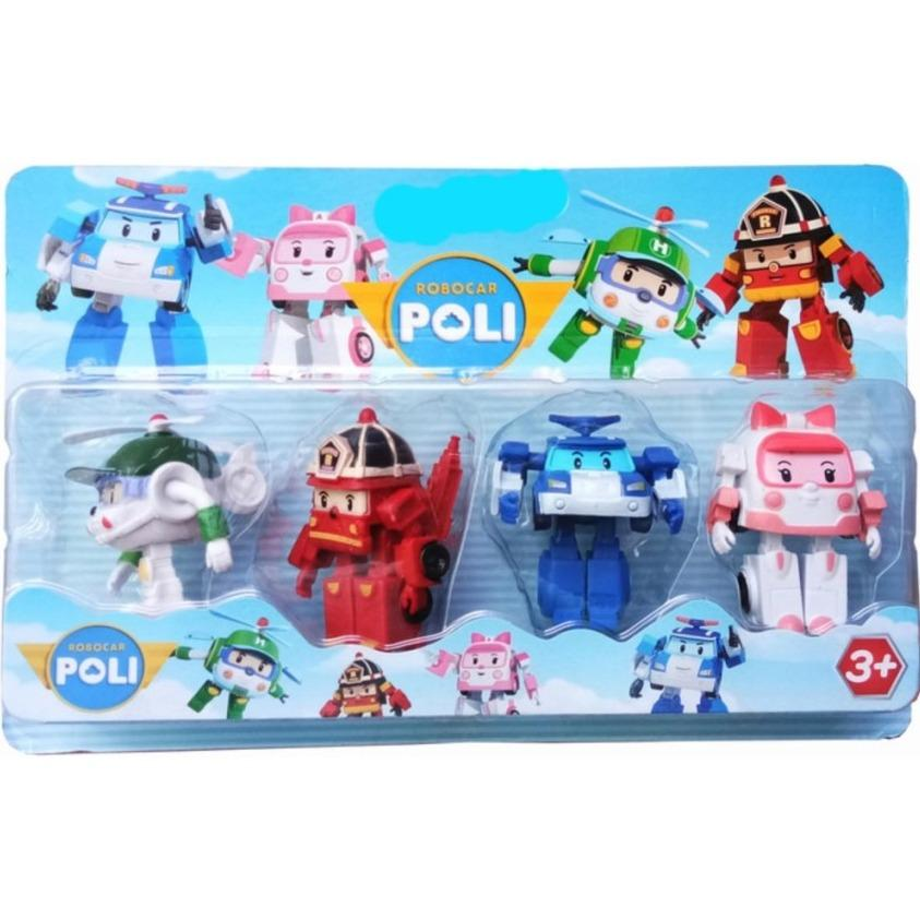 Mainan Robot Robocar Poli Roy Amber Heli 4 pcs Transformasi Mainan Anak 3 Tahun Ke Atas Edukatif Edukasi Play Toy Action Figure Kendaraan Mobil Damkar Ambulan Helikopter Kado Ulang Tahun Birthday Gift for Kids