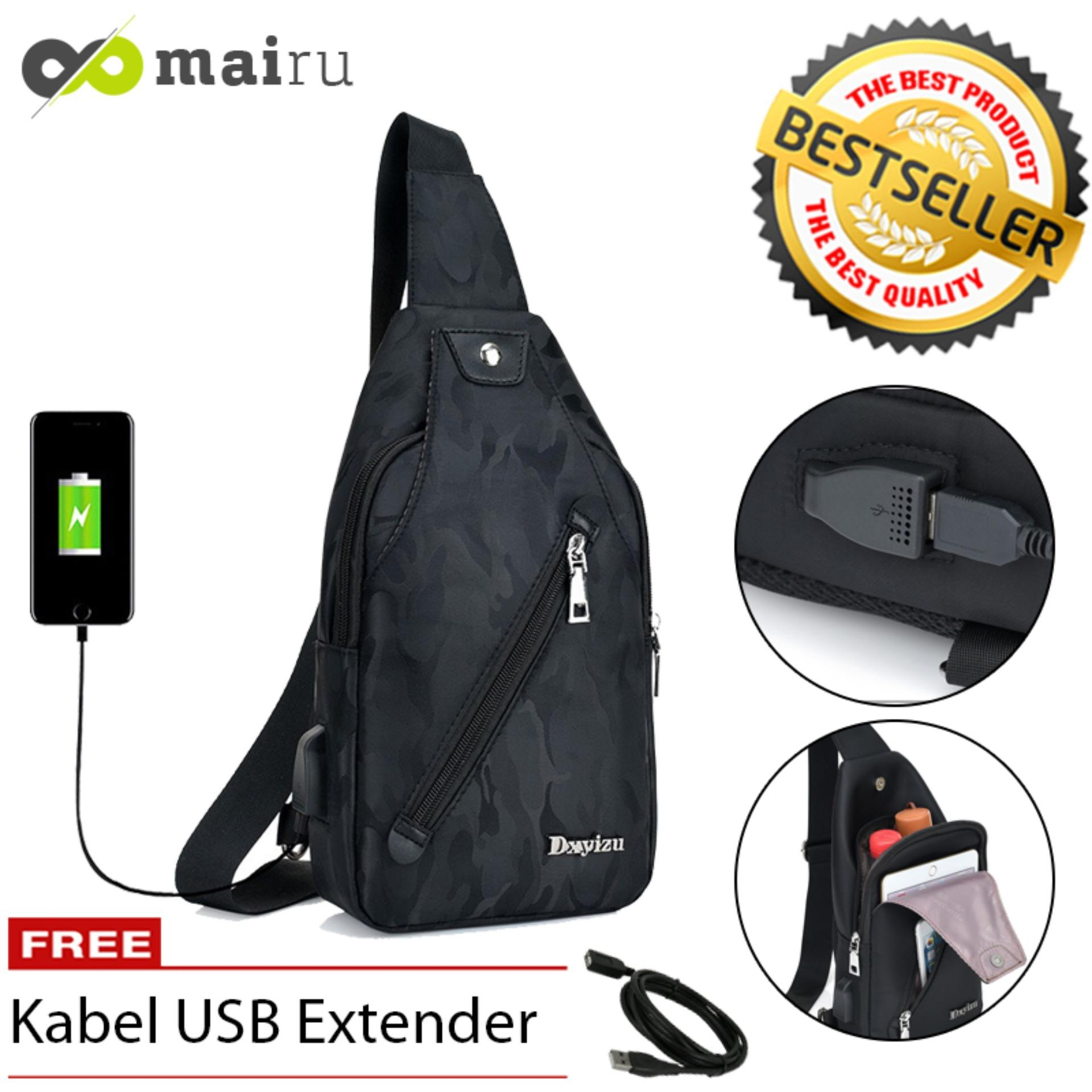 Ulasan Mairu Dxyizu 533 Tas Selempang Pria Sling Bag Cross Body With Usb Charger Support For Iphone Ipad Mini Xiaomi Samsung Tab Tablet 8 Anti Theft