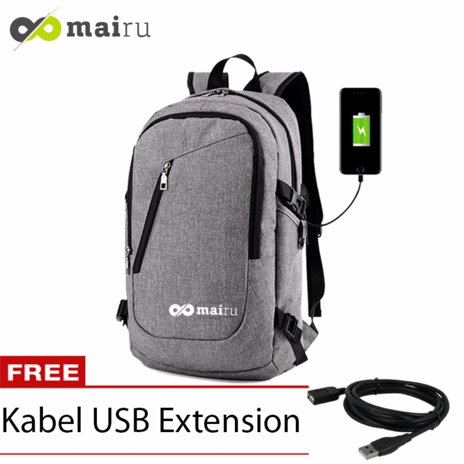 Cuci Gudang Mairu Tas Ransel Laptop Pria Sekolah Kuliah Kerja Backpack Support Usb Port Charger Anti Air 0219 Grey