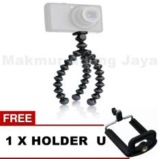 MAJ Tripod GorillaPod Flexible Mini Size S Untuk Kamera Gopro / Bpro / Xiaomi Yi / Android / iOs - Hitam Size S + Free Holder U