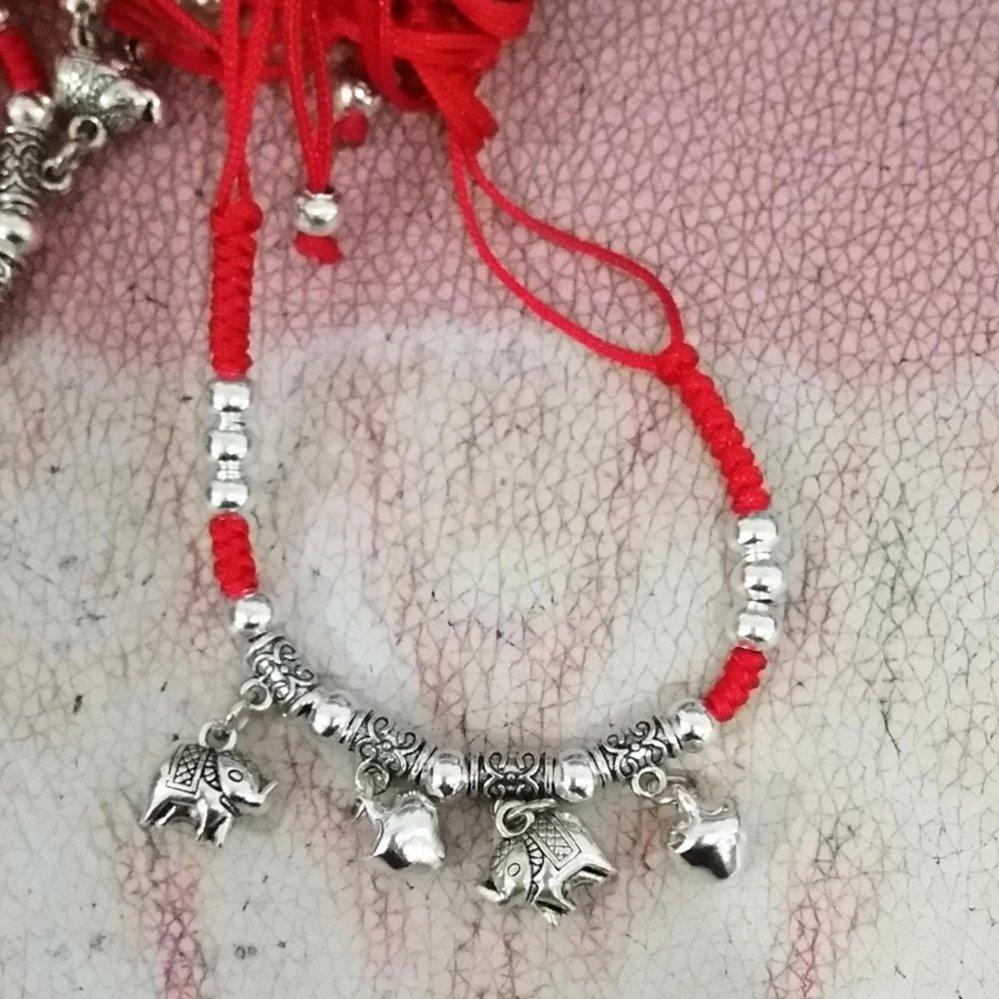 Iklan Makiyo Fashion Manual Bracelet Red String Gelang Logam Campuran Anklet Rantai Kepang Gajah Intl