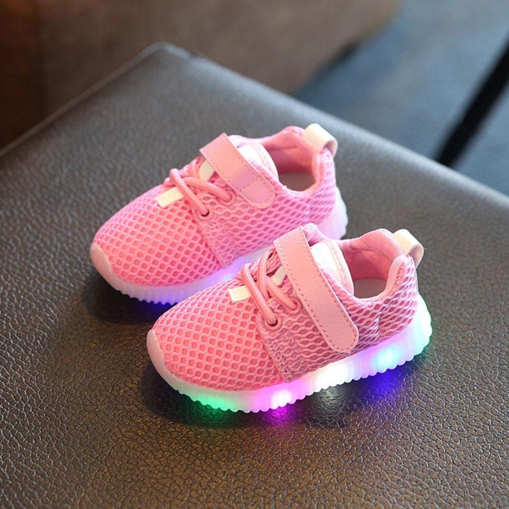 Makiyo Anak Laki-laki Perempuan Sepatu Lampu LED Up Bercahaya Anak-anak Sepatu Olahraga Sepatu Kets (Merah Muda)-Intl