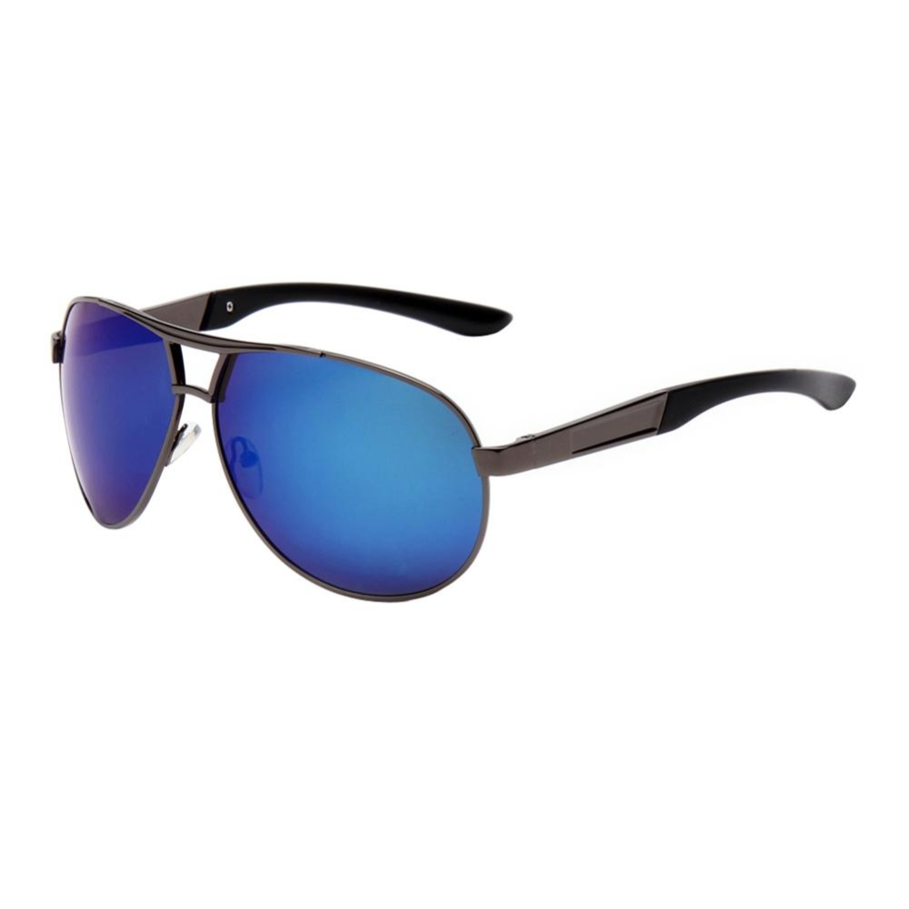 Man Classic Merek Besar Chic Drive Warna-warni Katak Cermin Sunglasses (Biru)-Intl