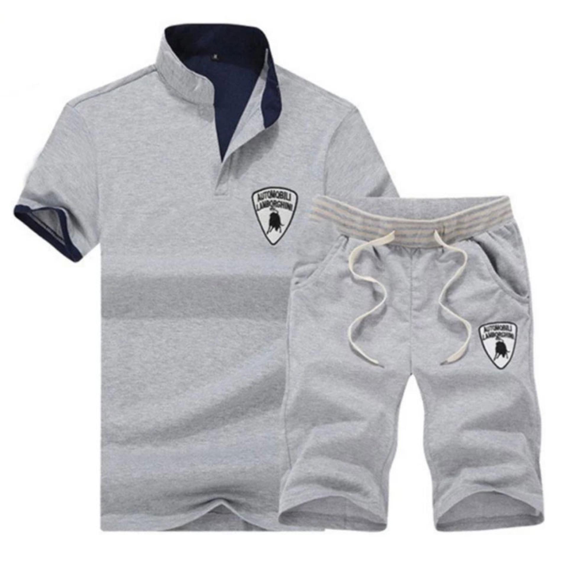 Man Setelan sweater Cepat Kering Kualitas Baik Musim Panas Pola Baru Laki-laki Rekreasi Pria Lengan Pendek Kasual Polo Shirt Set (abu-abu) -Intl