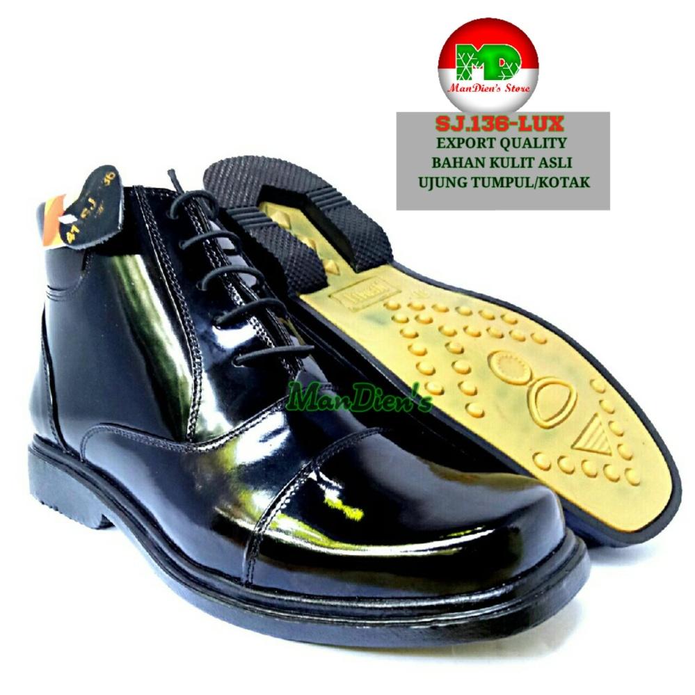 Spesifikasi Mandiens Sepatu Boots Pria Kulit Asli Export Quality Pdh Sj136 Lux Hitam Terbaru