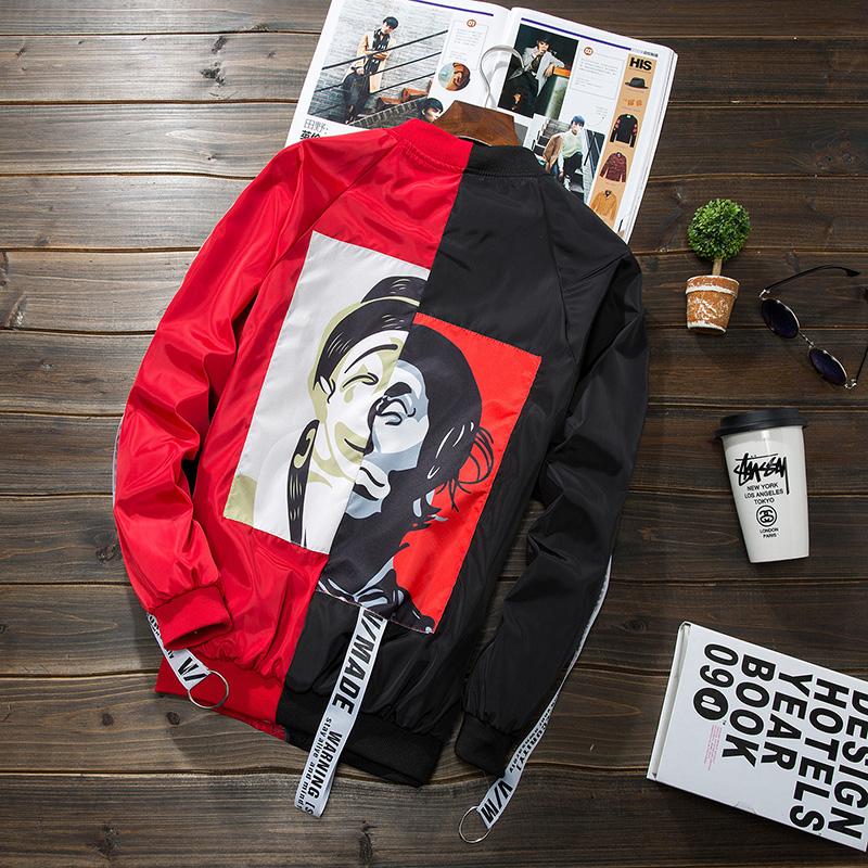 Mantel Korea Fashion Style Pria Musim Semi Dan Musim Gugur Badut Merah Dan Hitam Pertarungan Jaket Pria Jaket Jeans Jaket Denim Di Tiongkok