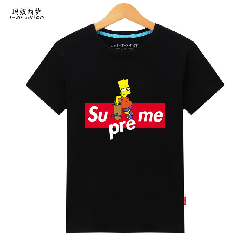 Jual Manuxisa Katun Laki Laki Lengan Pendek Ukuran Besar Laki Laki T Shirt Skateboard Simpson Hitam Original