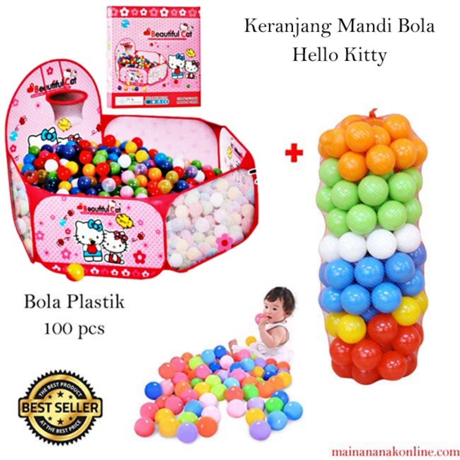 MAO Tenda Mandi Bola Hello Kity + Bola Plastik 100pcs - Ball Pit