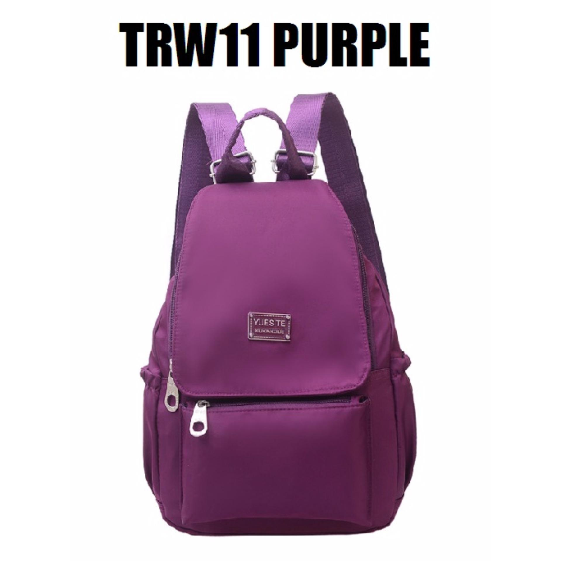 Martin Versa Tas TRW11 Backpack Ransel Wanita Kanvas Nylon - Purple