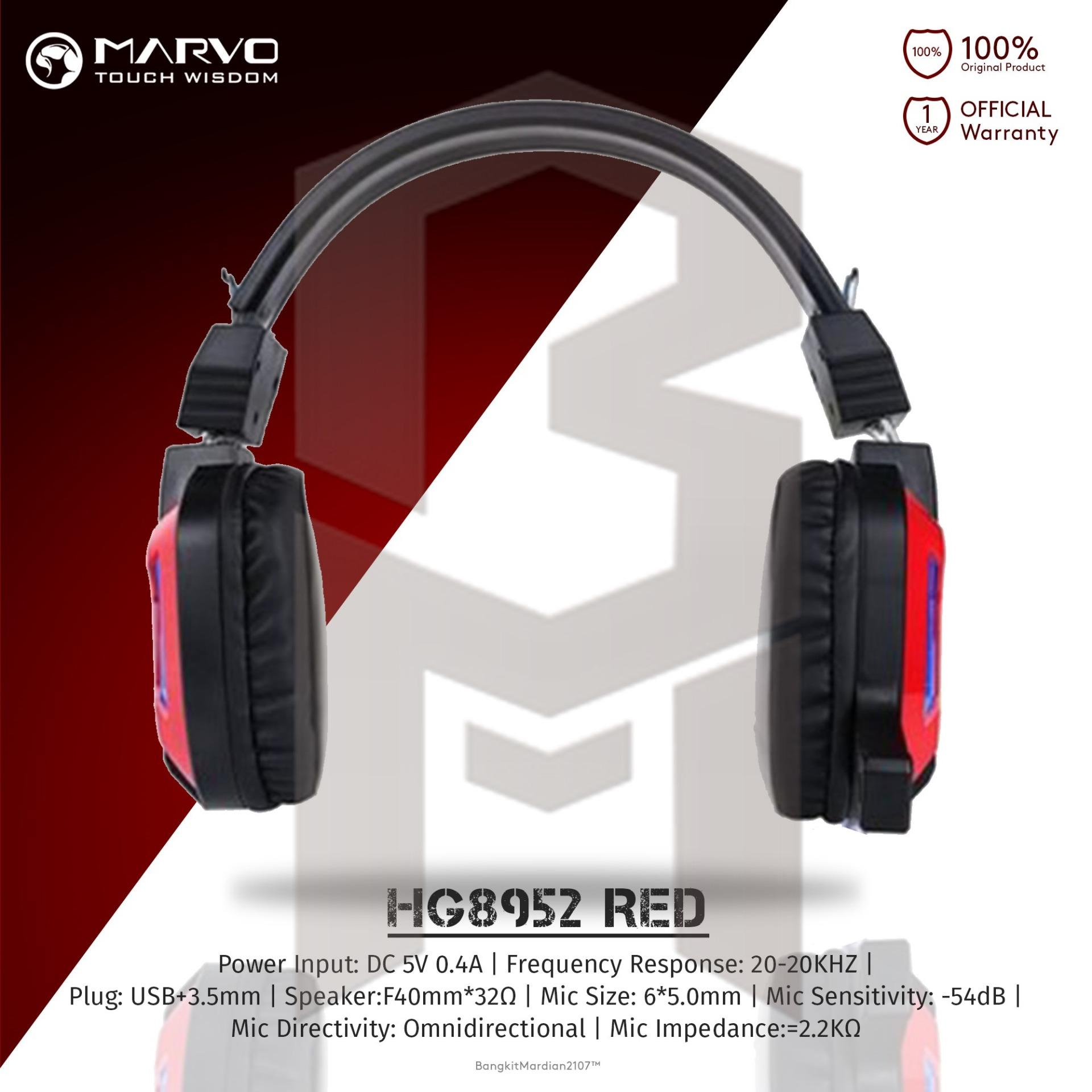 Ulasan Marvo Headset Gaming Hg8952 Red Silver