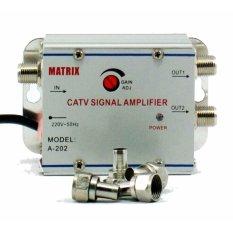 Matrix Penguat Sinyal TV (CATV Signal Amplifier) / Booster Indoor + 2 Way Splitter