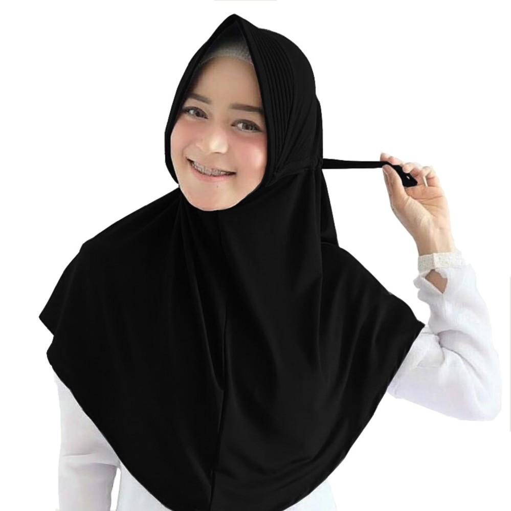Maula Hijab Jilbab Instan Serut Jokowi Jersey ( Kerudung instan, jilbab khimar)