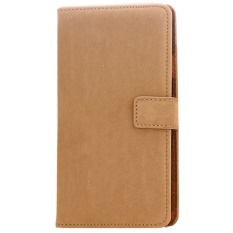 Review Terbaik Max Imported Premium Korean Fashion Leather Flip Case For Samsung Galaxy S5 Light Chocolate