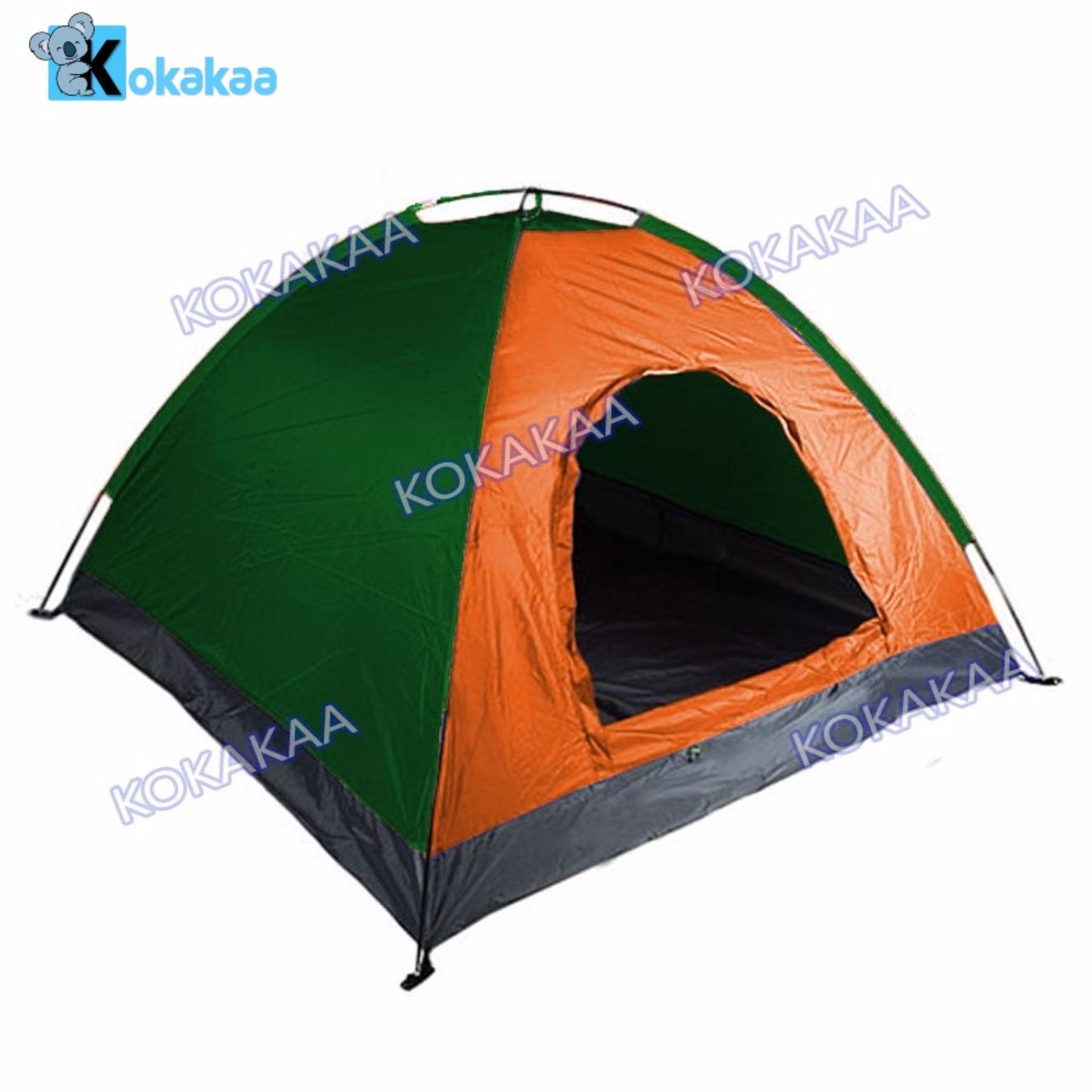 Toko Maxxio Tenda Camping 6 Orang 250Cm X 220Cm Pintu Double Layer Hijau Orange Murah Di Indonesia