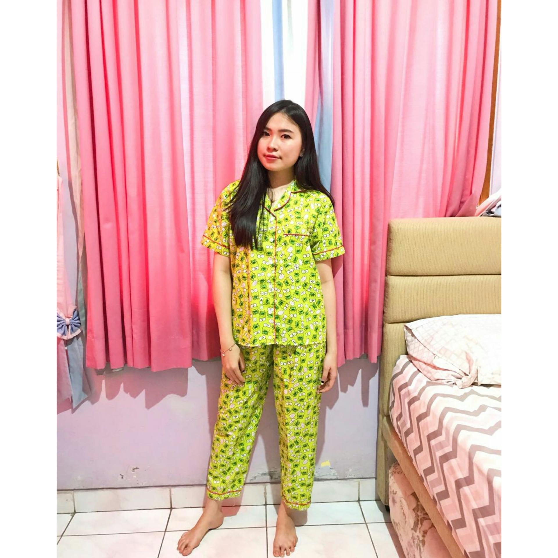 Harga Media Fashion Shop Baju Tidur Wanita Piyama Longpants Motif Little Keropi Lembut Dingin Bagus Laris Murah Bahan Katun Import All Size Ld 104 106 Best Seller Media Fashion Shop