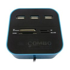 Mediatech USB Hub Combo Card Reader - Biru