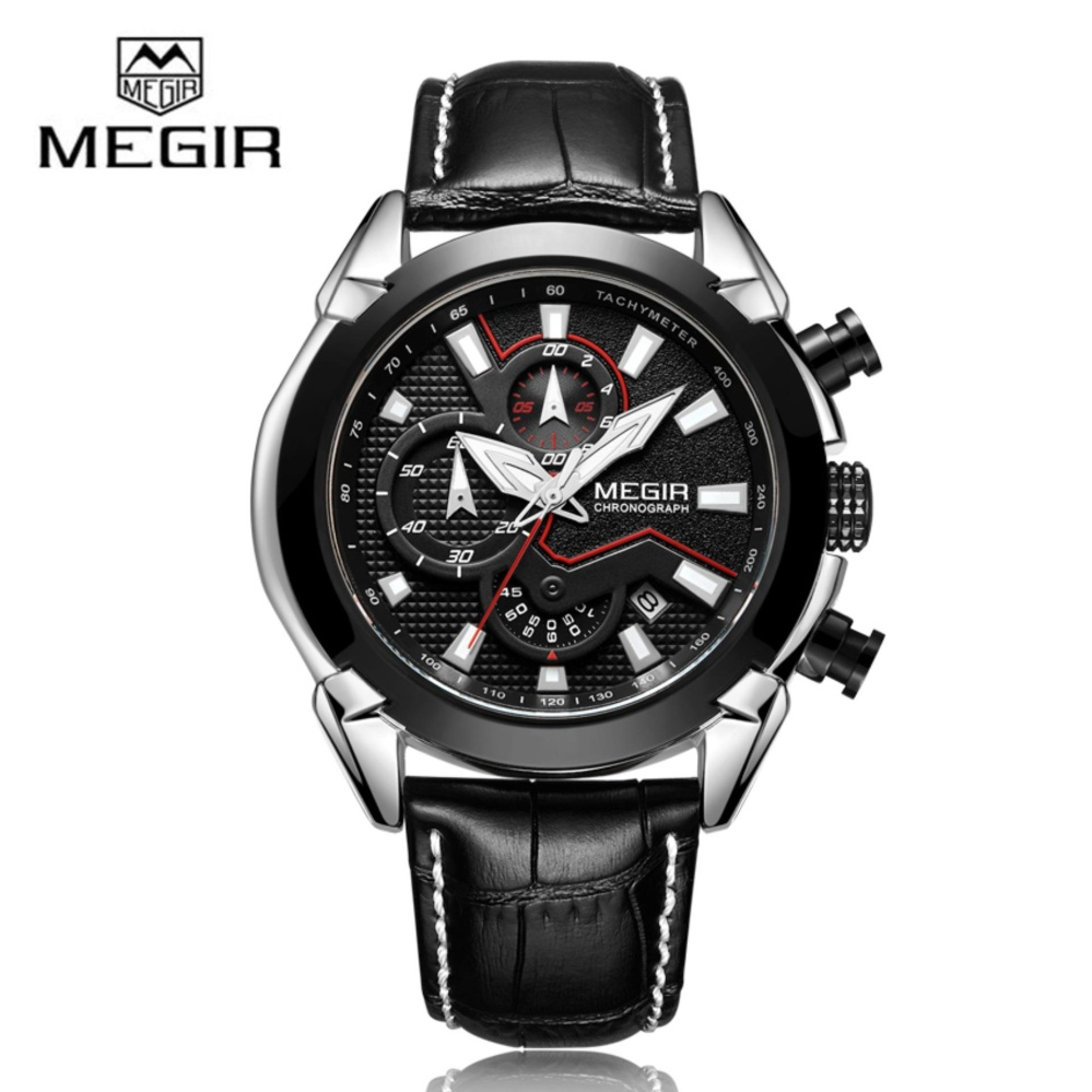 Model Megir 2065 Men Quartz Watch Creative Leather Chronograph Army Military Sport Watches Clock Intl Terbaru