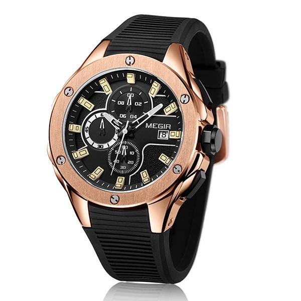 Jual Megir Men Sport Watch Chronograph Tali Silikon Quartz Army Militer Jam Tangan Jam Pria Top Brand Luxury Pria Relogio Masculino 2053 Murah Di Tiongkok