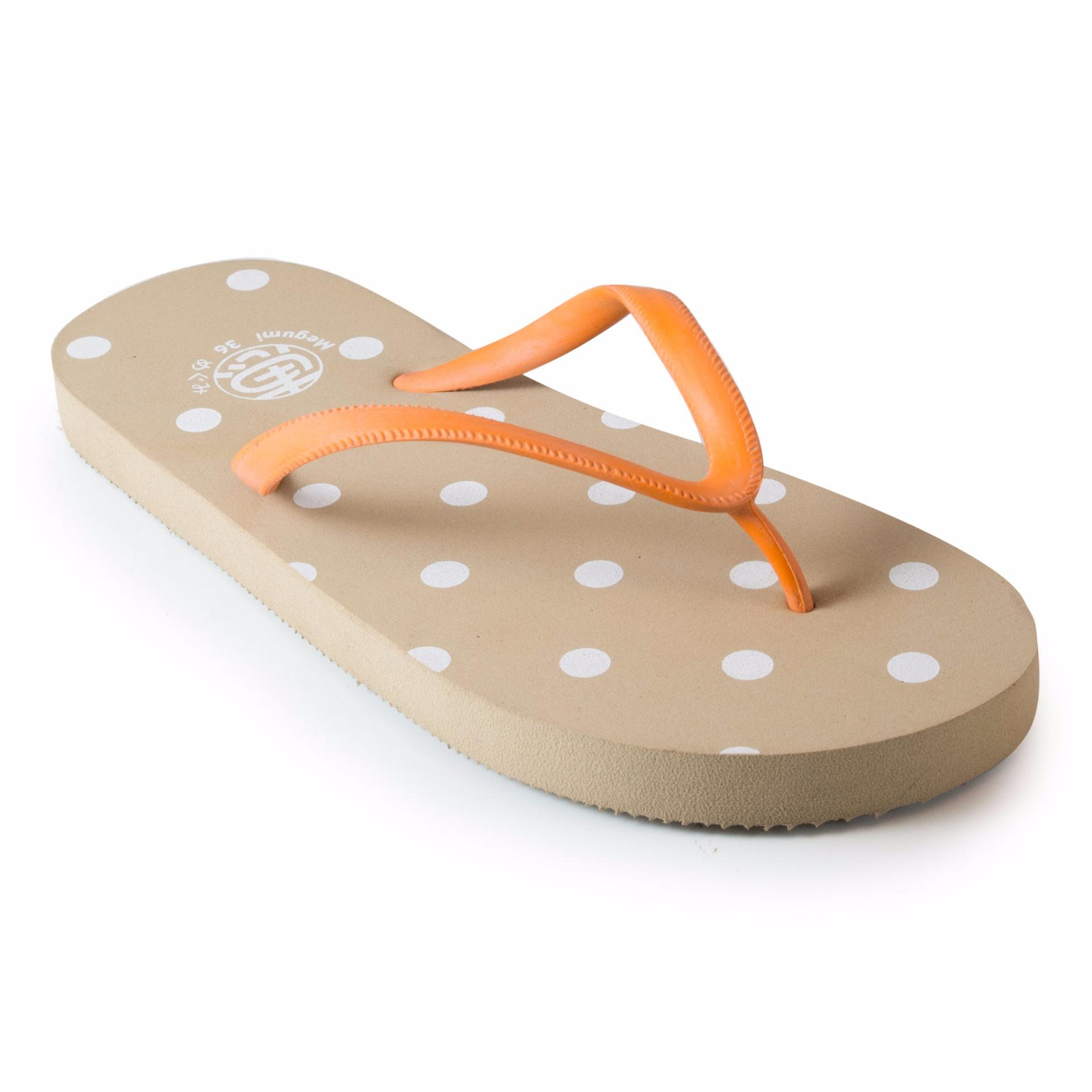 Jual Megumi Polkadot Sandal Jepit Cream Megumi Sandal