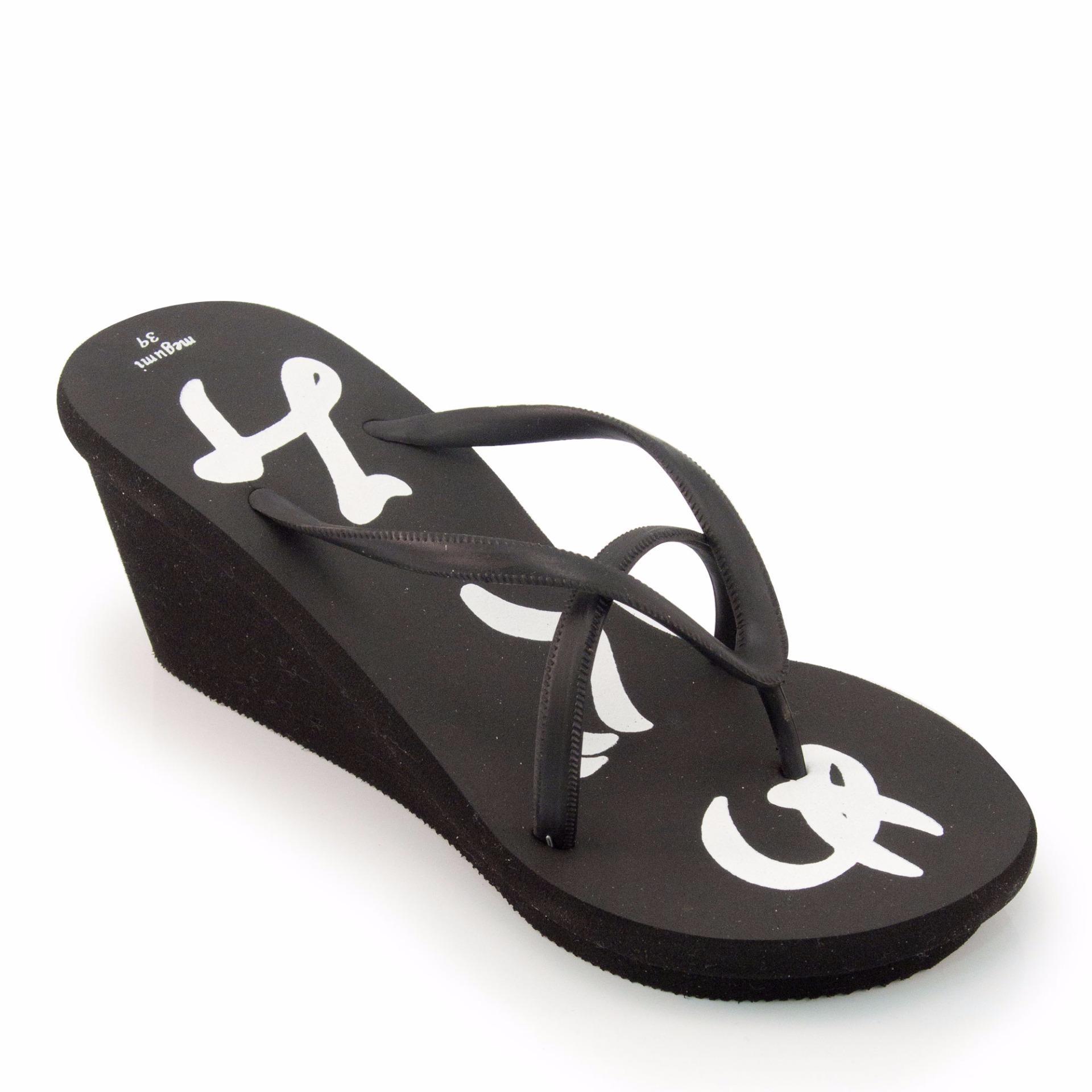 Beli Megumi Sandal Wedges Garibaldi Black Murah