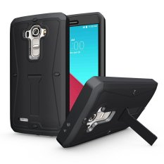 Meishengkai Case untuk LG G4 Dustproof Water Resistant (Terbatas Tahan Air) Advanced Shock Absorption Protection dengan Kick-Berdiri Hitam-Intl