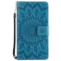 Meishengkai Case untuk LG Stylus 3 Plus Dompet Card Pocket Folio Kickstand PU Leather Case Cover dengan Embossed Bunga Matahari Biru-Intl