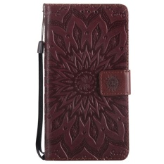 Meishengkai Case untuk LG Stylus 3 Plus Dompet Card Pocket Folio Kickstand PU Leather Case Cover dengan Embossed Bunga Matahari Brown-Intl