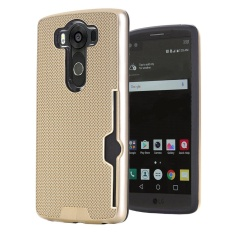 MeiShengKai untuk LG V10, [Slot Kartu] Detachable Slim Hybrid Shockproof Anti-Scratch Case-Emas-Intl