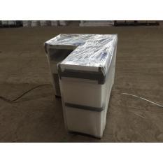 MEJA KASIR PANDA CHECKOUT COUNTER CASHIER POWDER COATING PANJANG 110CM ALUMINIUM FANCE DENGAN 3 SHELVING DISAMPING TEBAL 0.8MM PLATE