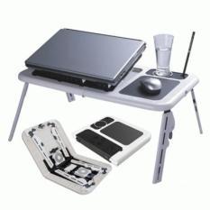 Meja Laptop Portable Murah E-Table Double Fan Efisien Praktis Ekonomis Made In China Dewasa Besi Kuat Kipas Pendingin Ipad Notebook