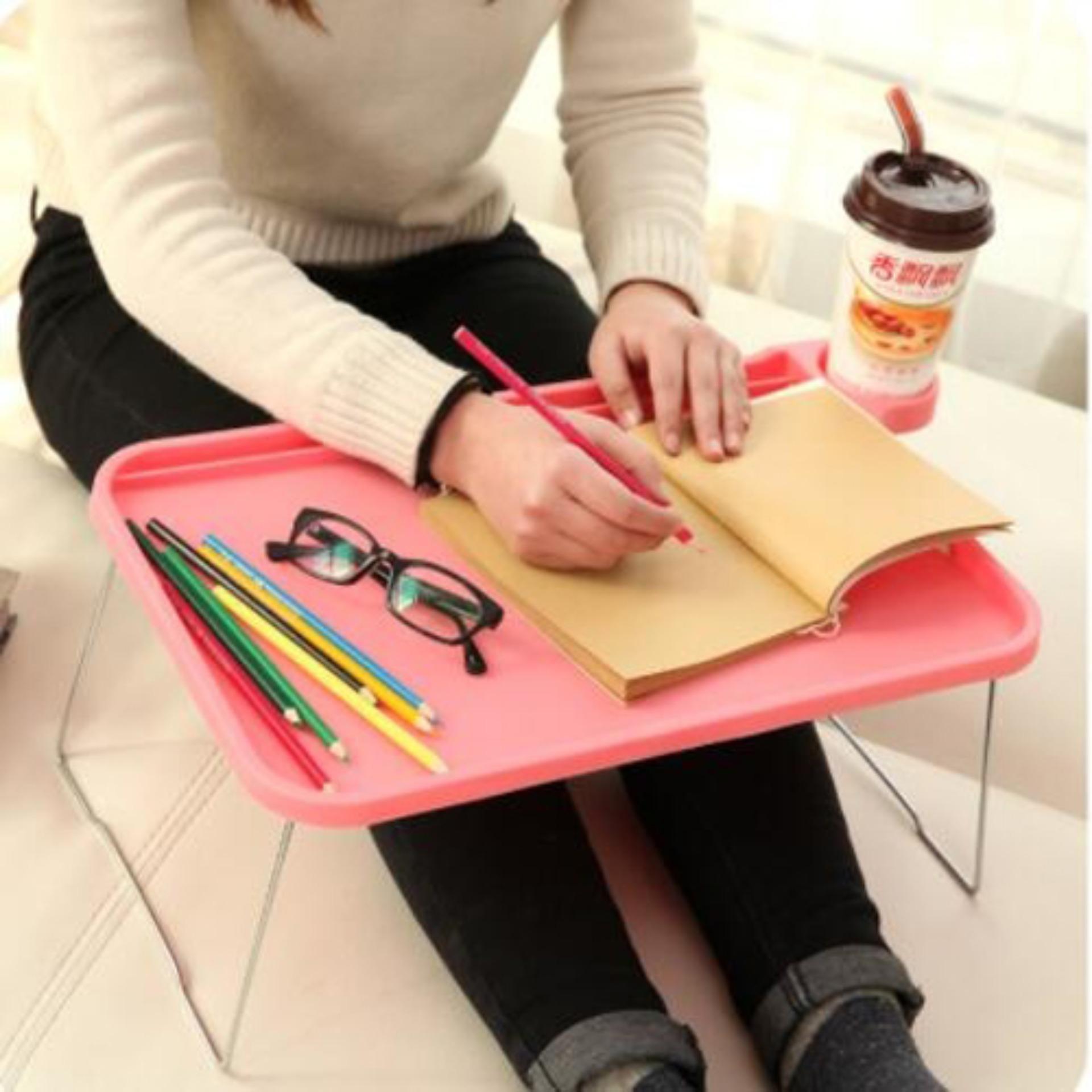 Meja Lipat Portable Serbaguna Dilengkapi Tempat Gelas Cup Holder Laptop Portabel Piknik Outdoor