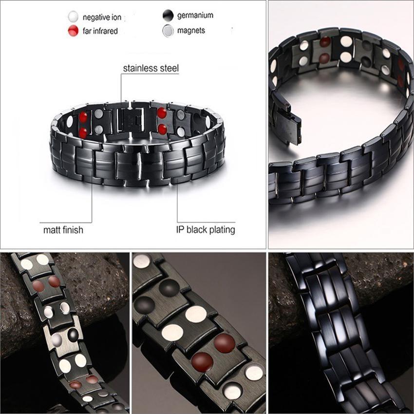 Jual Men S Stainless Steel Gelang Double Row Magnet Inframerah Sehat Gelang Fashion Perhiasan Oem