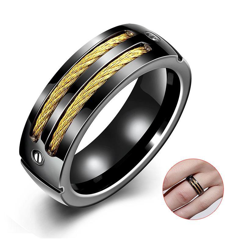 Harga Men S Titanium Cincin Baja Unik Kabel And Sekrup Desain Cincin Asli Oem