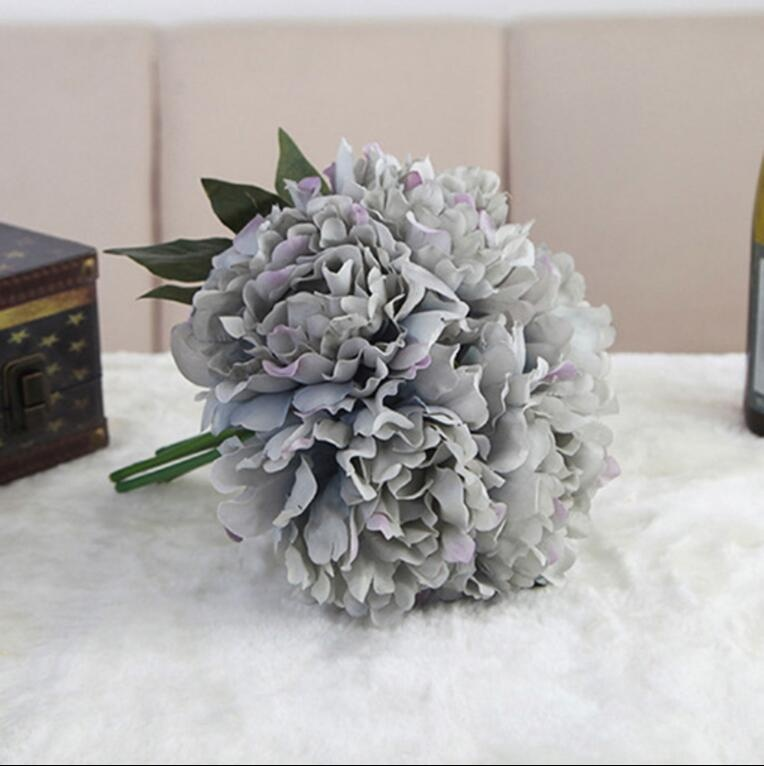 Beli Menghangatkan Rumah Anda Buket Bunga Peony Hydrangea Buatan Hiasan Kebun Pernikahan Modern 5 Dahan Online Terpercaya