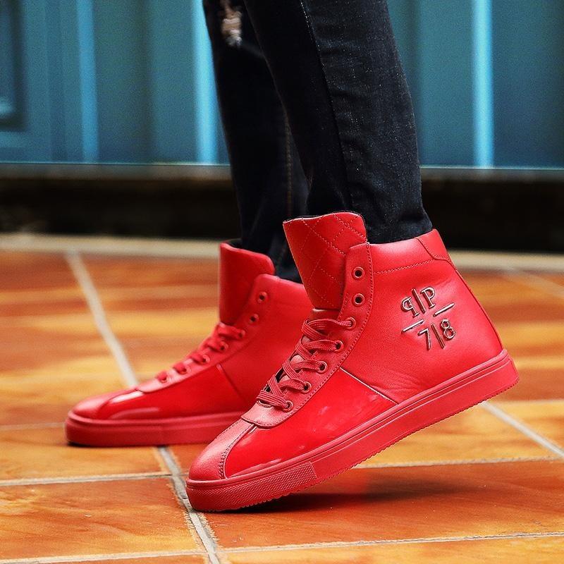 Harga Termurah Merah Tinggi Untuk Membantu Men S Board Sepatu Olahraga Dan Rekreasi Sepatu Cermin Cat Sepatu Kulit Hip Hop Hip Sepatu Intl
