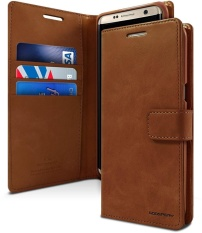 Mercury Blue Moon Diary Case Casing Cover for Samsung Galaxy Note 4 - Coklat