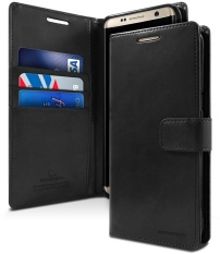 Mercury Blue Moon Diary Case Casing Cover for Samsung Galaxy Note 4 - Hitam