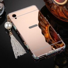 Metal Bumper Frame and Bling Diamond With Tassels Mirror PC Back Cover for Sony Xperia M4 Aqua (Rose Gold ) - Int'L