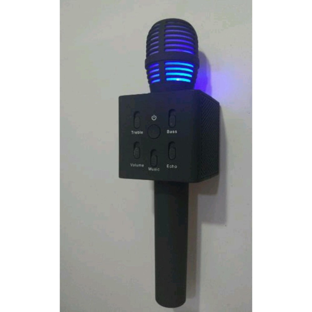 Jual Mic Q7 Bluetooth Speaker Microphone Karaoke Smule Led Light Hitam Murah Banten