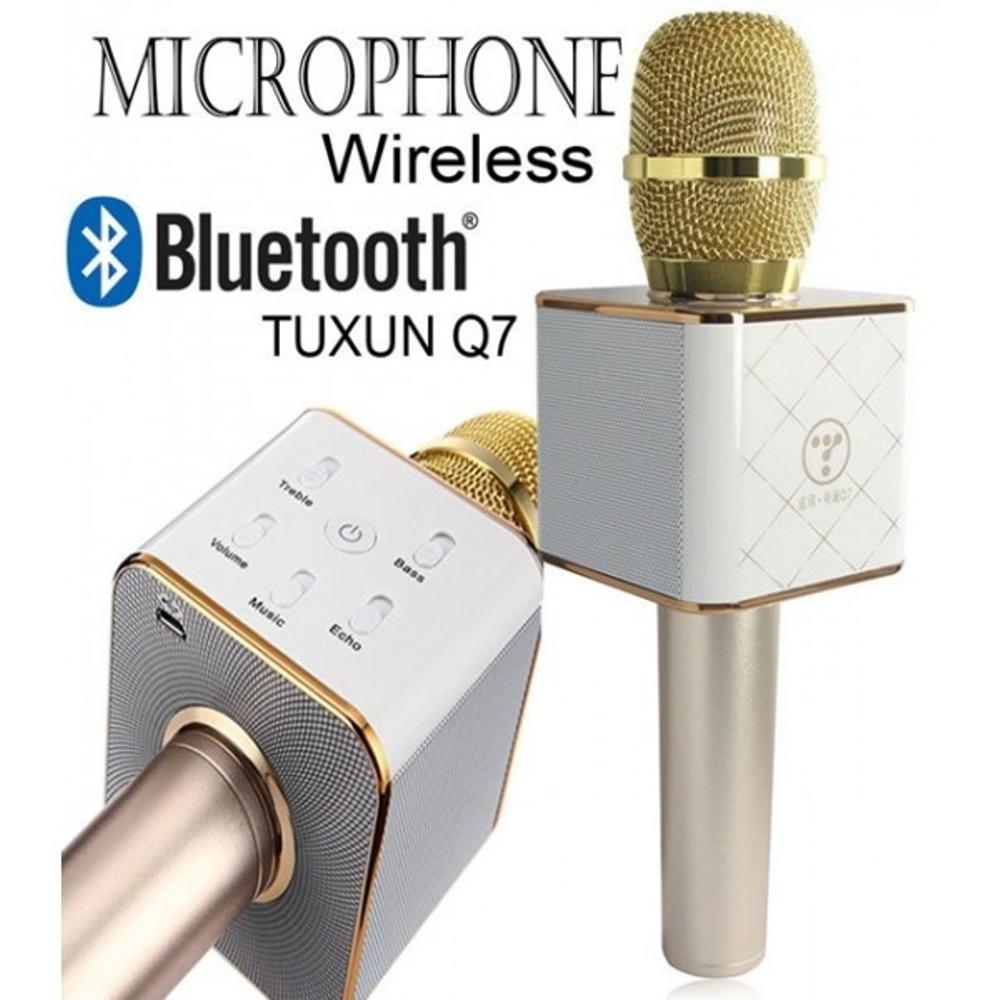 MIC Q7 TUXUN WIRELESS BLUETOOTH SMULE KARAOKE SPEAKER TERBARU Q9 smule mic(free box)