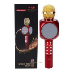 MIC Smule Karaoke Portable WS-1816 upgrade dari WS-858 Bluetooth Wireless Microphone Speaker USB kabel aux dan lampu LED
