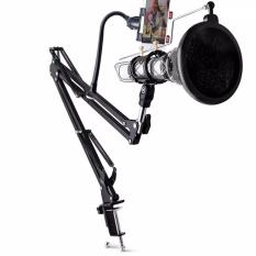 Spesifikasi Microphone Condenser Stand Phone Clamp Holder 360 Degree Pop Filter Windshield For Recording Smule Karaoke Broadcasting