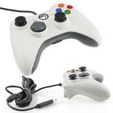 Microsoft Stick Xbox 360 Controller Cable Wired Gamepad Controller Original For Xbox 360 /PC Windows  / Stik Game Kabel - Putih