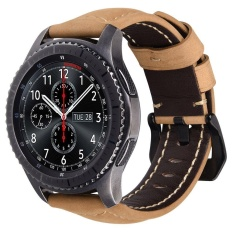 Review Miimall 22Mm Genuine Leather Strap Soft Replacement Gelang Gelang Dengan Gesper Gesper Stainless Steel Untuk Gear S3 S3 Frontier Classic Sport Smart Watch Black Buckle Intl Miimall